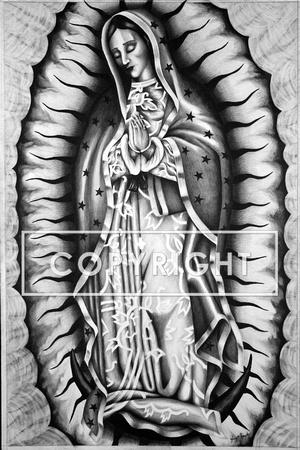 Henry Montes Art Pencil Drawings Virgen De Guadalupe